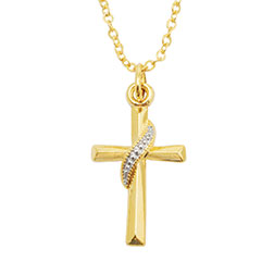 Two-Tone Swash Cross Necklace