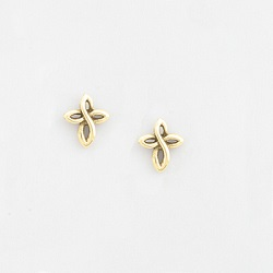 Gold Plated Twist Cross Earrings
