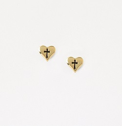 Small Gold Heart Cross Earrings