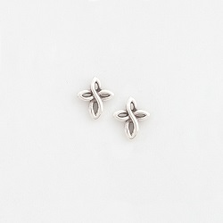 Pewter Twist Cross Earrings