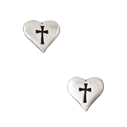 Small Heart Cross Earrings