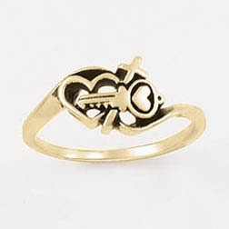 Gold Key and Heart Cross Ring