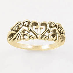 Gold Angels Cross Heart Ring