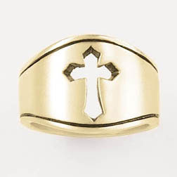 Gold Pierced Cut-Out Cross Ring