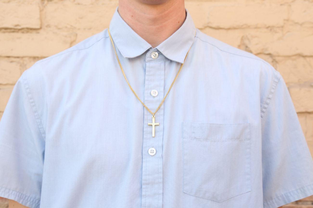 Plain Cross Gold Plated Necklace - BSD-510-303-6223