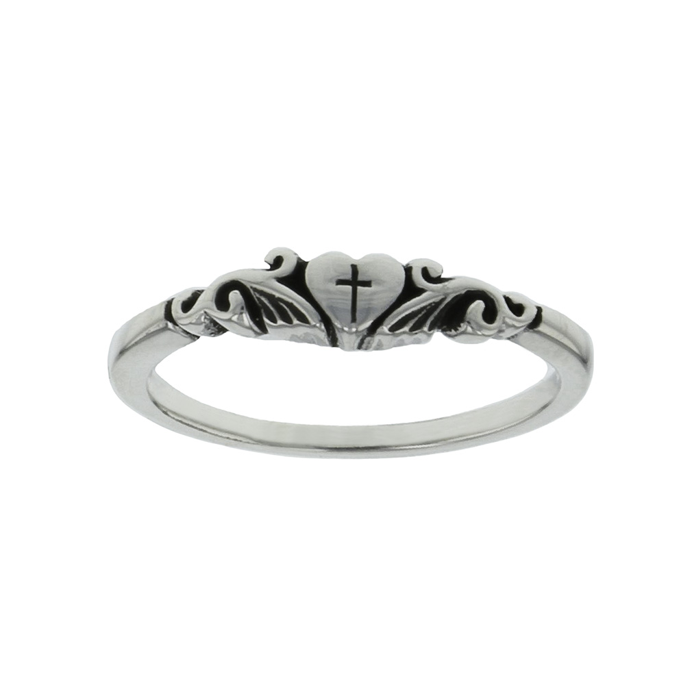 Cross in Puffy Heart Ring - BSD-511-821-3622
