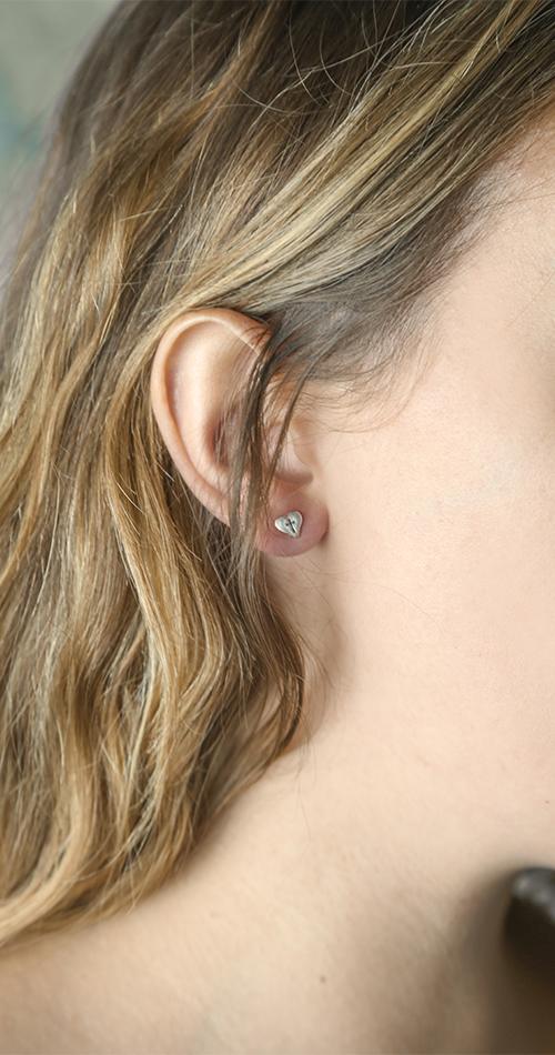 Small Heart Cross Earrings - BSD-511-840-5408