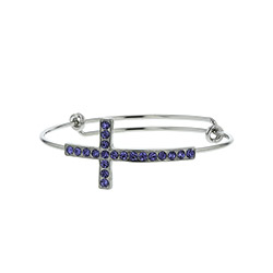 In Remembrance Adjustable Bracelet - Blue bracelet, bangle bracelet, bangle, wire, wire bracelet, in remembrance, cross bracelet, cross