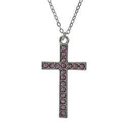 In Remembrance Necklace - Pink cross necklace, sparkly cross, crystal cross necklace, womens cross necklace, pink cross necklace, sparkly cross necklace, christian necklace