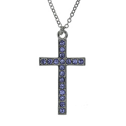 In Remembrance Necklace - Blue cross necklace, sparkly cross, crystal cross necklace, womens cross necklace, blue cross necklace, gem cross necklace, christian necklace, sparkly cross necklace