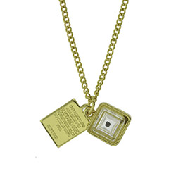 Gold Cube Mustard Seed Necklace