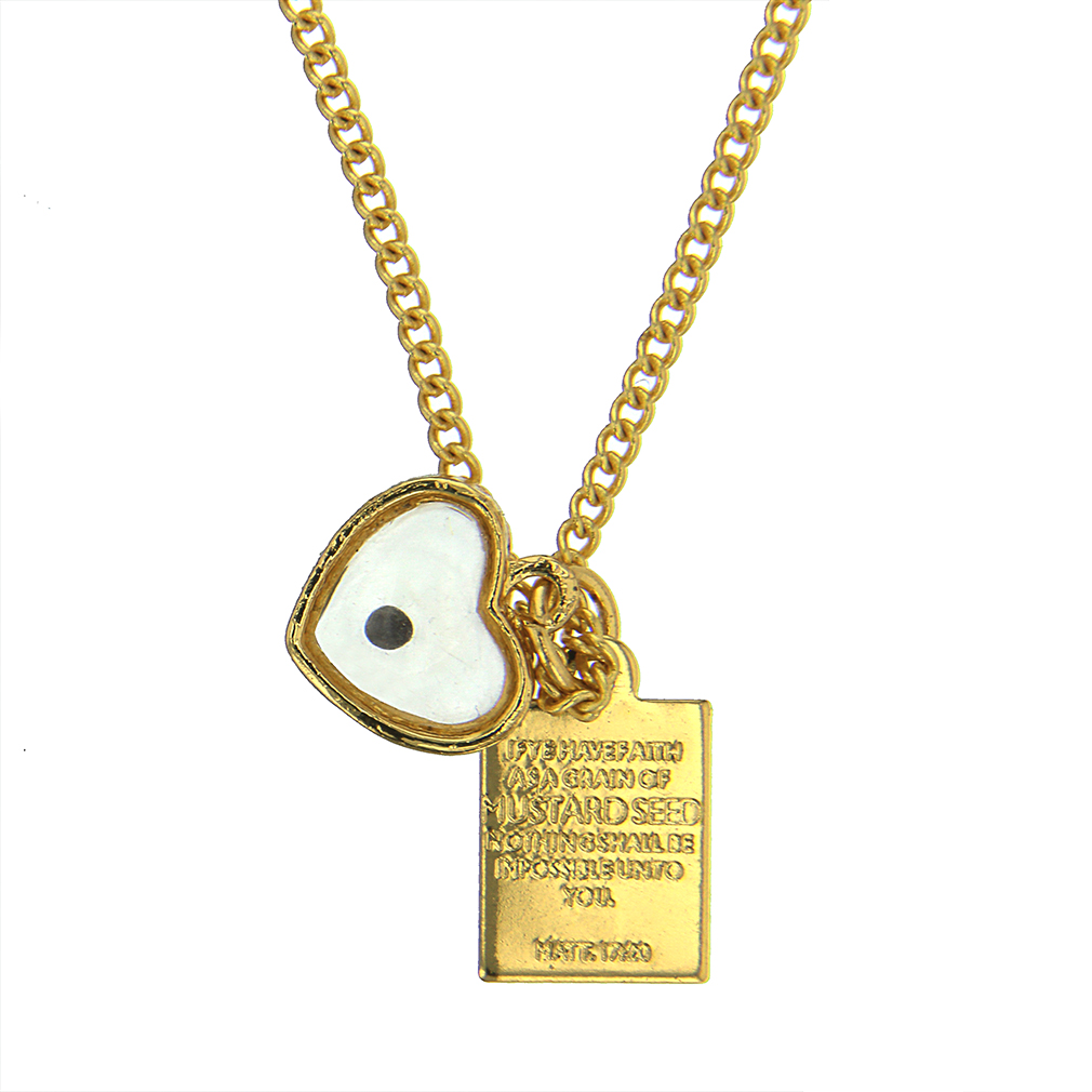 Gold Heart Mustard Seed Necklace - CF-P79988
