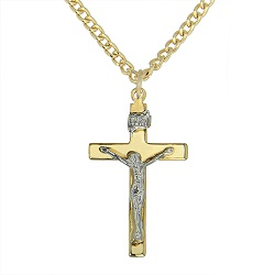 Gold Plated Crucifix with Silver Plated Corpus Necklace