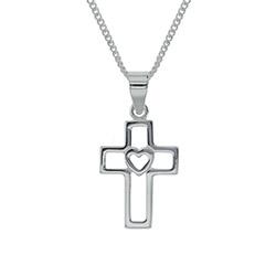 Cutout Cross Heart Necklace