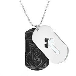 For God So Loved the World Cutout Cross Dog Tag Necklace - FP-DTG120