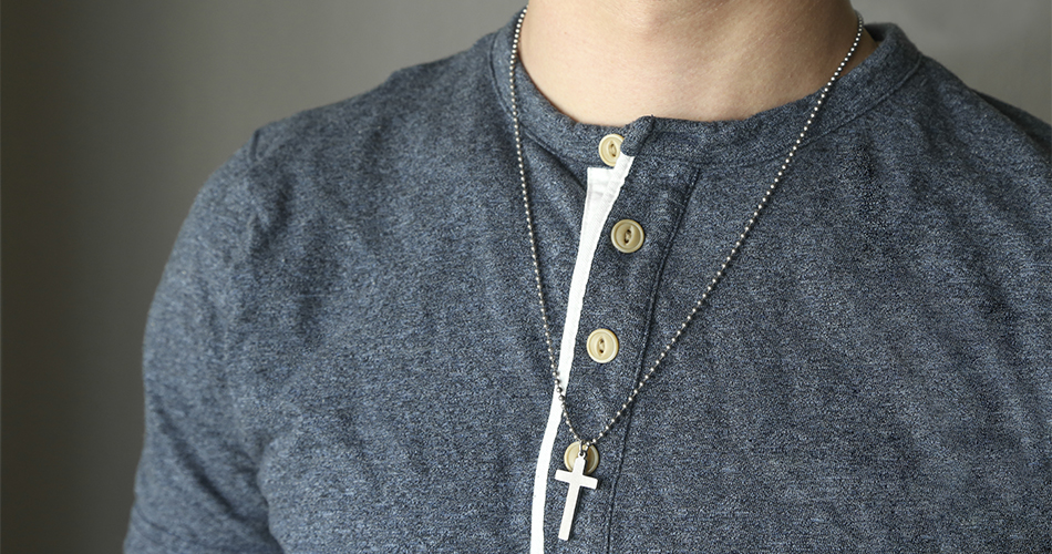 Long Cross Military Necklace - GIJ-10106W
