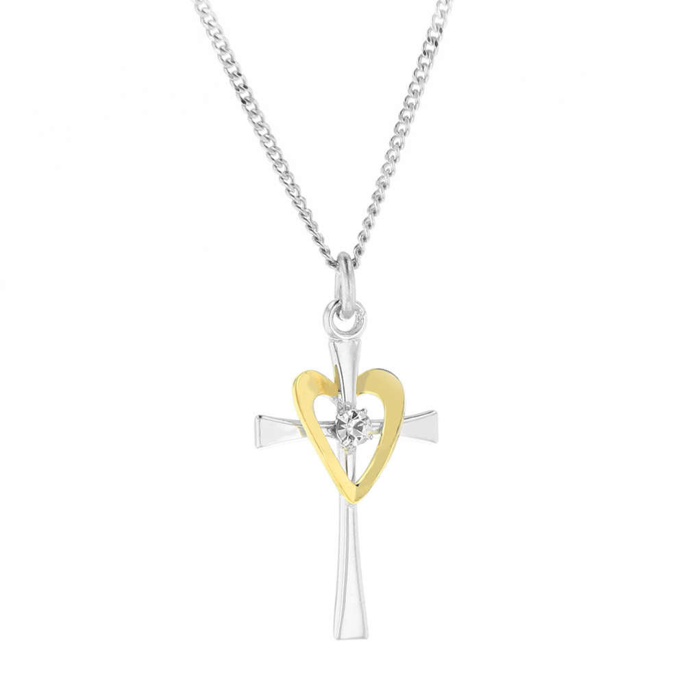 Golden Heart Crystal Cross Necklace - HJS-CM285
