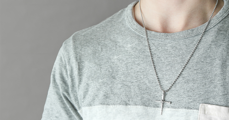 Silver Nail Cross Necklace - HJS-MM2155P