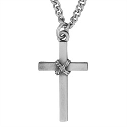 Pewter Cross Rope Necklace - HJS-MM481P