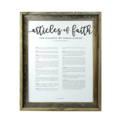 Framed Articles of Faith - Barnwood framed articles of faith, articles of faith framed