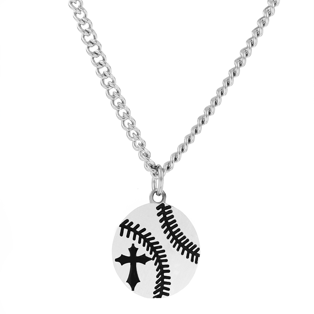 Men's Rhodium Plated Baseball Necklace