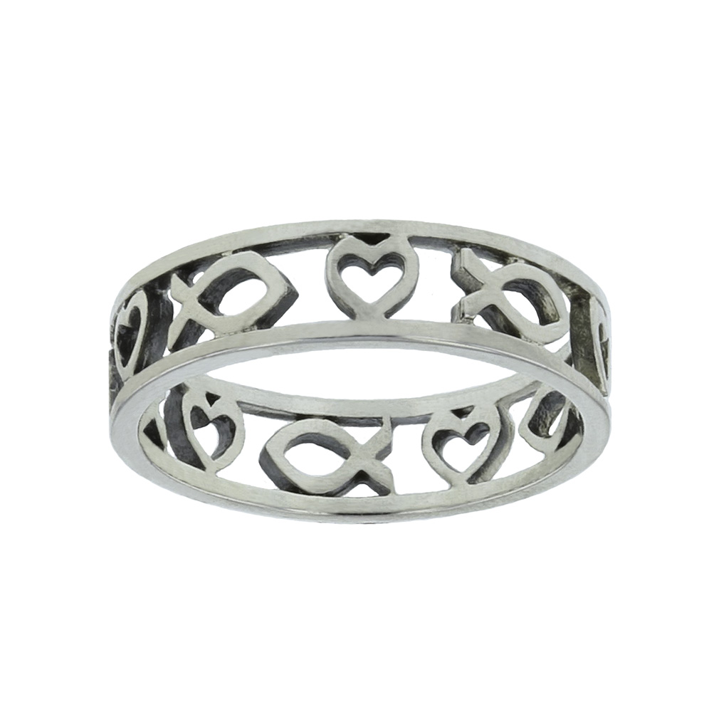 Cutout Heart and Ichthus Ring - SR-483S