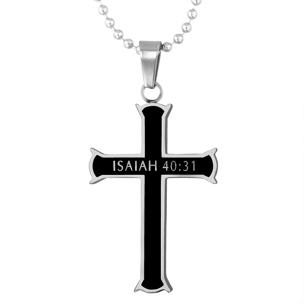 Strength Black Iron Cross Necklace - ST-BLK-IC-Strength