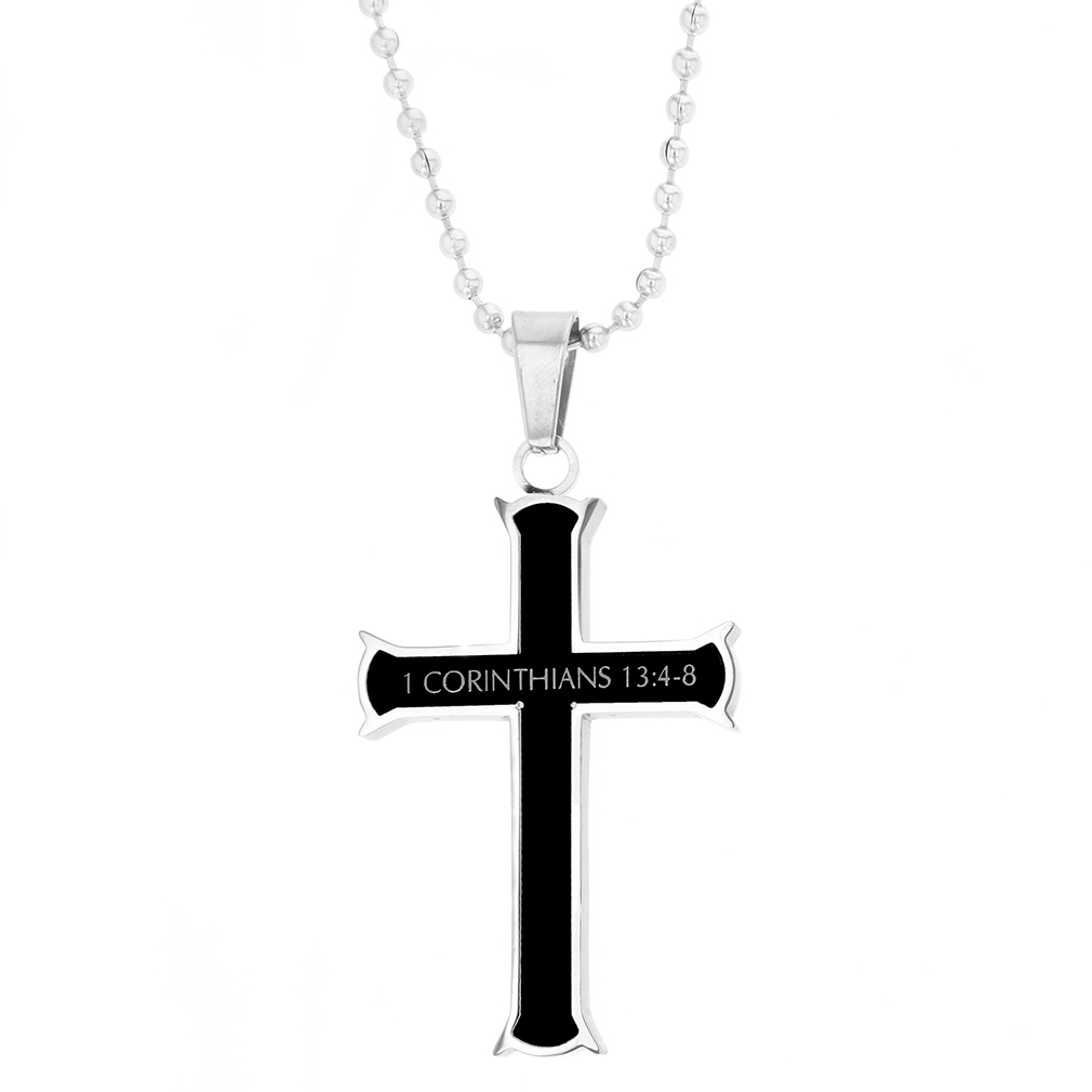 Love Black Iron Cross Necklace - ST-BLK-IC-Love