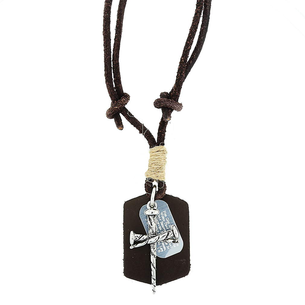 3 Nail Cross Leather Necklace