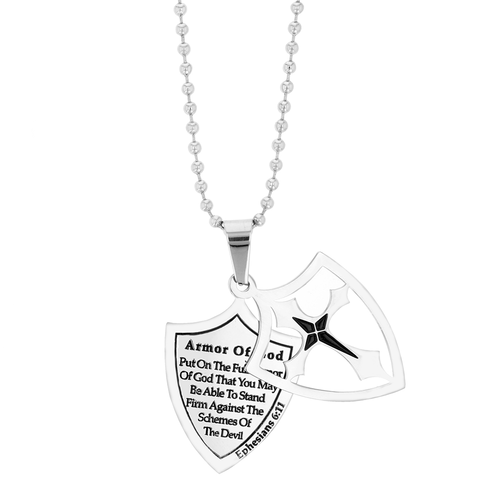 Full Armor of God 2 Piece Shield Necklace - ST-M2SC-AOG-Full