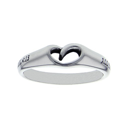 Christ My Strength Mini Heart Ring