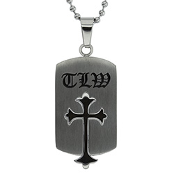 True Love Waits Old English Cross Necklace - ST-OESC-TLW-SIL