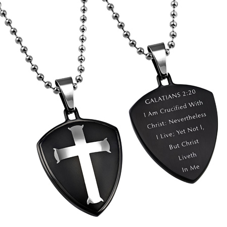 "Black R2 Shield Cross ""Crucified"" Necklace"