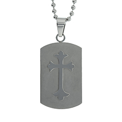 Man of God Shield Cross Necklace - ST-SC-SIL-MOG