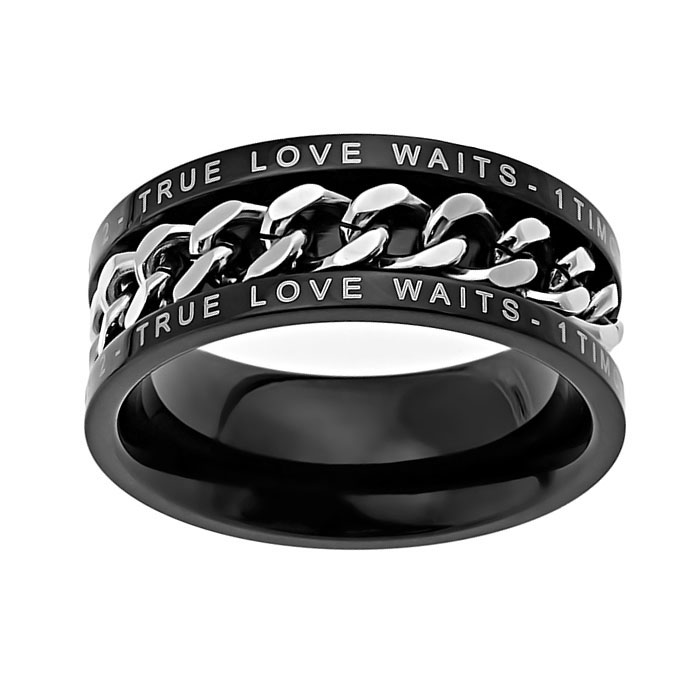 True Love Waits Black Chain Ring - ST-BCR TLW