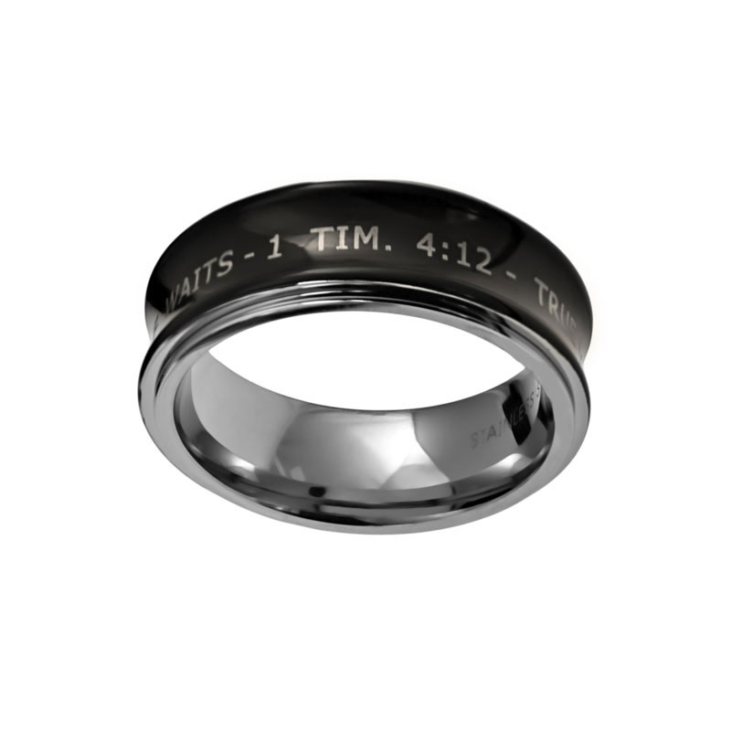 Black True Love Waits Spinner Ring - ST-RR116