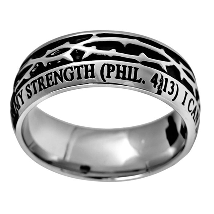 Christ My Strength Crown of Thorns Ring - ST-COT-CMS