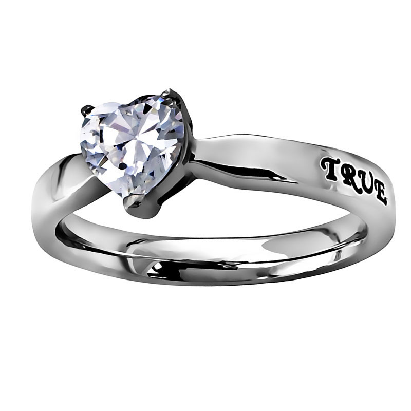 True Love Waits Solitaire Heart Ring - ST-CZH TLW