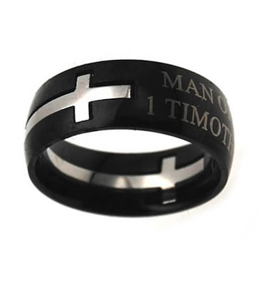 Black Man of God Double Cross Ring - ST-DC MOG BLK