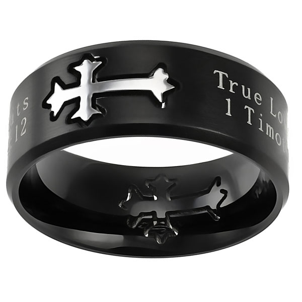 True Love Waits Black Neo Cross Ring - ST-NEO-TLW-BLK