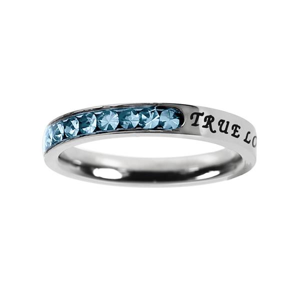 True Love Waits Birthstone Princess Cut Ring - March - ST-PC-BS-TLW-MAR