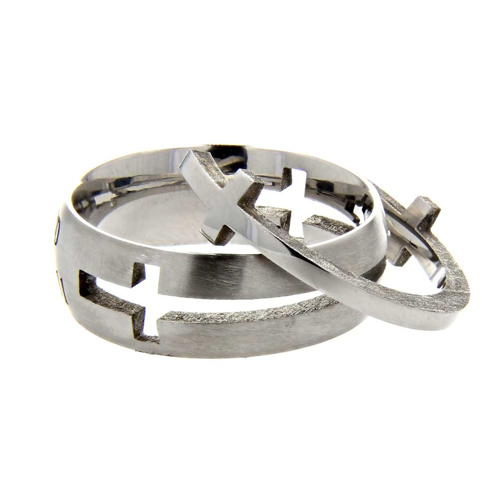 Silver True Love Waits Double Cross Ring - ST-DC TLW SIL