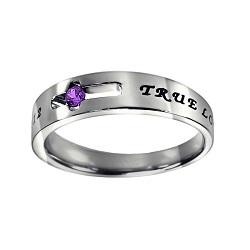 True Love Waits Birthstone Solitaire Ring - February