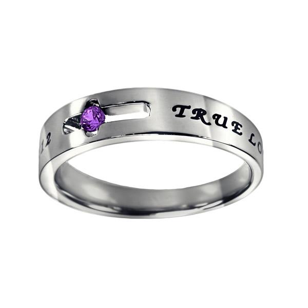 True Love Waits Birthstone Solitaire Ring - February - ST-SOL-TL-BS-FEB