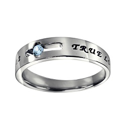 True Love Waits Birthstone Solitaire Ring - March