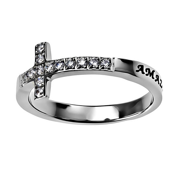 Amazing Grace Sideways Cross Ring - ST-SWC-AG