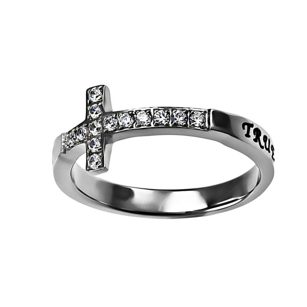 True Love Waits Sideways Cross Ring - ST-SWC-TLW