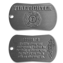 Firefighter Dog Tag Antiqued