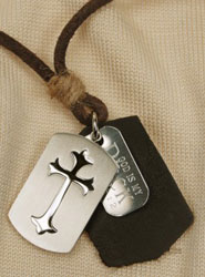 Shield Cross Leather Necklace
