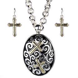 Cross Oval Necklace Earring Set